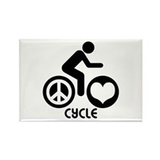 Peace Love Cycle Rectangle Magnet