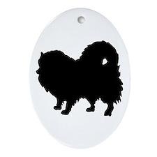 Pomeranian Silhouette Ornament (Oval)