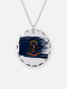 North Dakota Flag Necklace