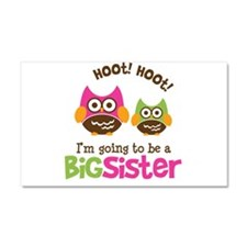 Retro Owl going to be Big Sis Car Magnet 20 x 12