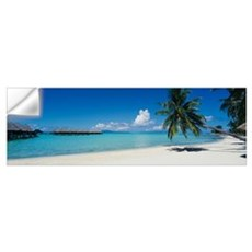 Palm tree on the beach, Moana Beach, Bora Bora, Ta Wall Decal
