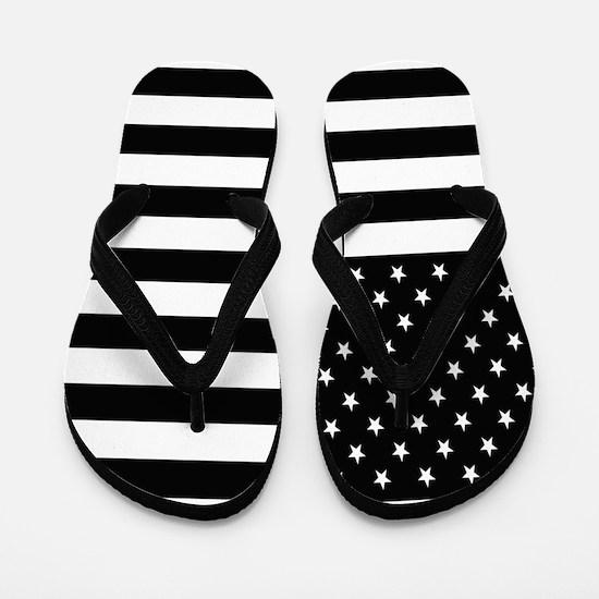 Black Stars and Stripes Flip Flops