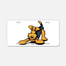 Airedale at Play Aluminum License Plate