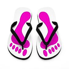 Pink Footprint Flip Flops