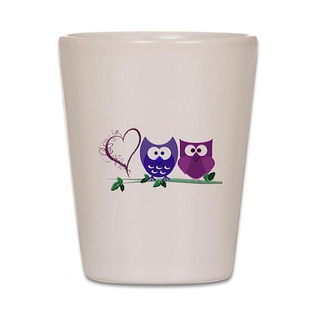 Romantic Cute Owls Shot Glass