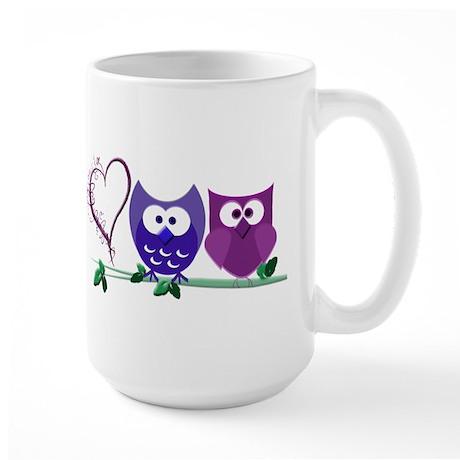 Romantic Cute Owls Large Mug
