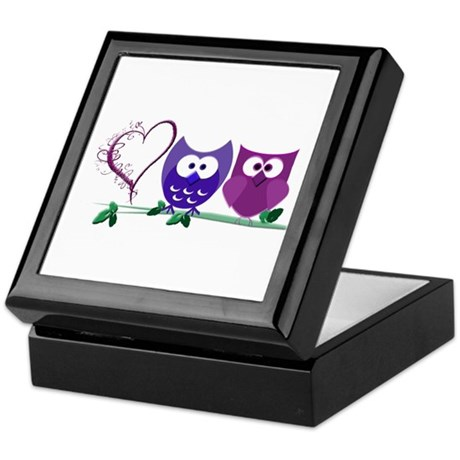 Romantic Cute Owls Keepsake Box
