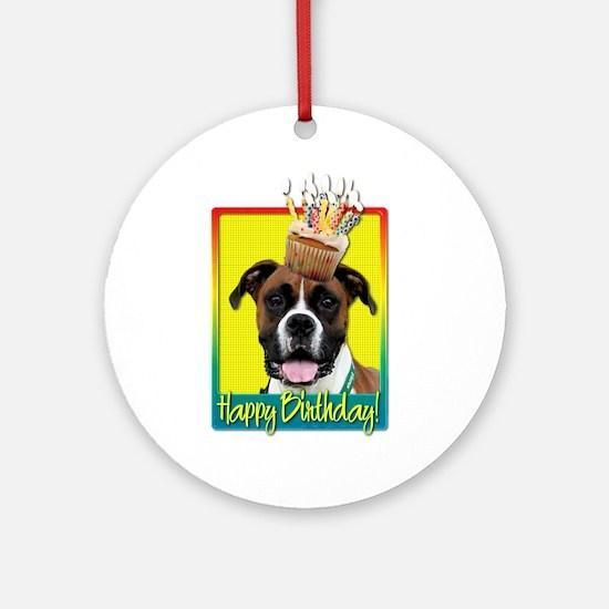 Birthday Cupcake - Boxer Ornament (Round)
