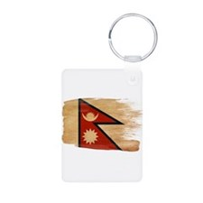 Nepal Flag Aluminum Photo Keychain