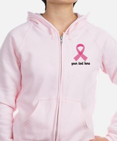 Personalized Breast Cancer Ribbon Zip Hoodie