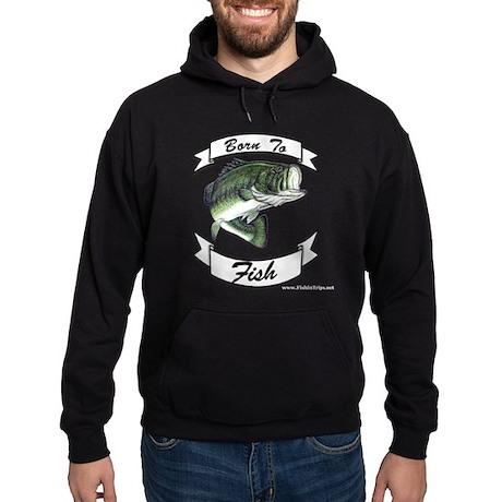 Born to Bass Fish Dark Hooded Sweatshirt