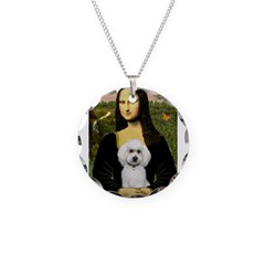 Mona Lisa / Poodle(w) Necklace Circle Charm