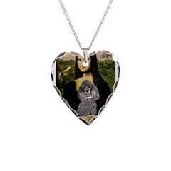 Mona / Poodle (s) Necklace Heart Charm