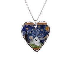 Starry Night / Poodle(w) Necklace Heart Charm