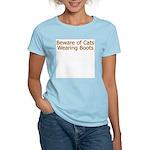 Beware Cats Wearing Boots Women's Pink T-Shirt