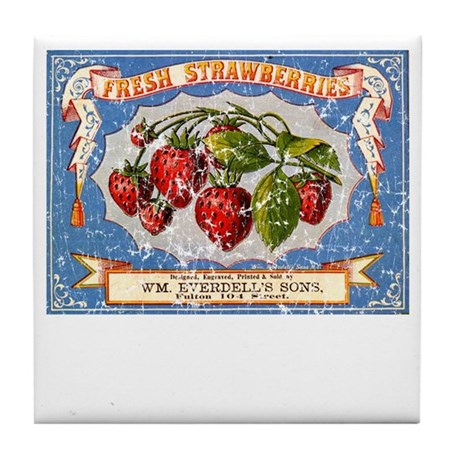 Fresh Strawberries Label Tile Coaster
