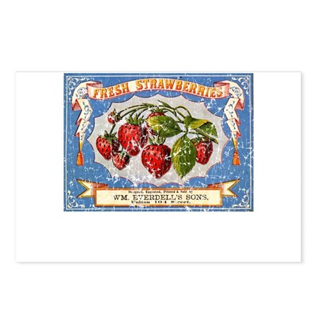 Fresh Strawberries Label Postcards (Package of 8)