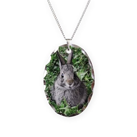 Baby Bunny Necklace Oval Charm