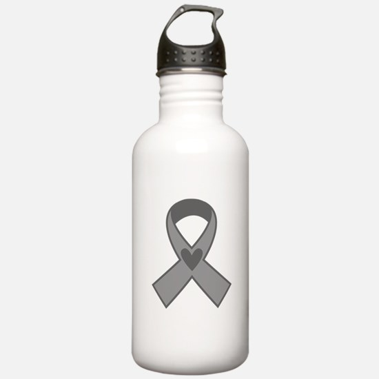 Gray Ribbon Awareness Water Bottle