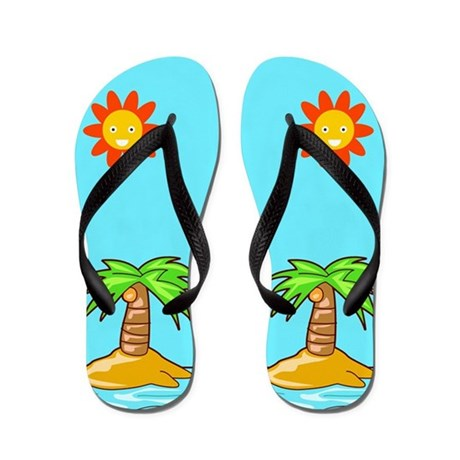 Palm Trees Beach Flip Flops