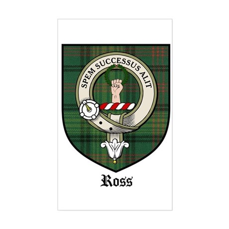 Ross Clan Crest Tartan Rectangle Sticker