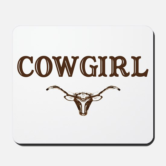 cowgirl w/ steer (brown) Mousepad