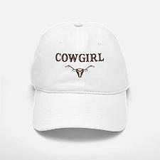 cowgirl w/ steer (brown) Baseball Baseball Cap