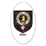 Oliver CLan Crest Tartan Oval Sticker