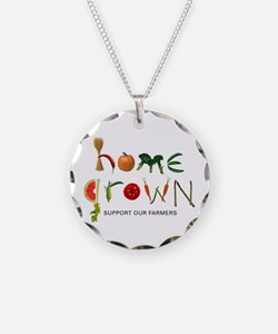 Home Grown. Support our Farme Necklace Circle Char