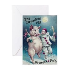 Drunken Pig 2.0 Greeting Card