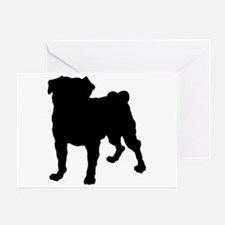 Pug Silhouette Greeting Card