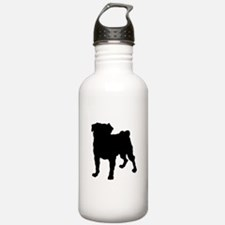 Christmas or Holiday Collie Silhouette Water Bottle
