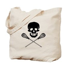 Skull and Lacrosse Sticks Tote Bag