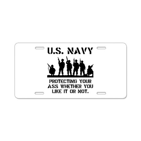 Navy Protect Aluminum License Plate