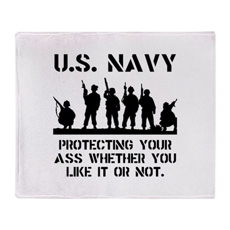 Navy Protect Throw Blanket
