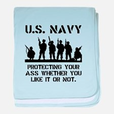 Navy Protect baby blanket