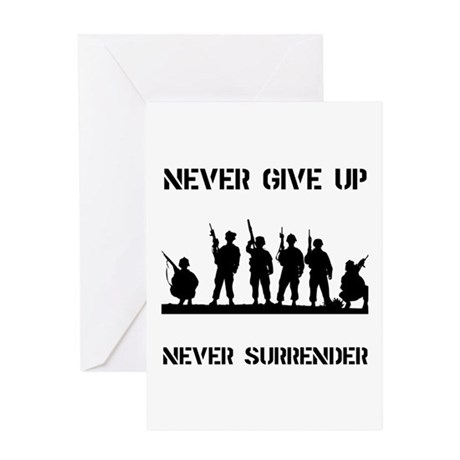 Never Give Up Military Greeting Card