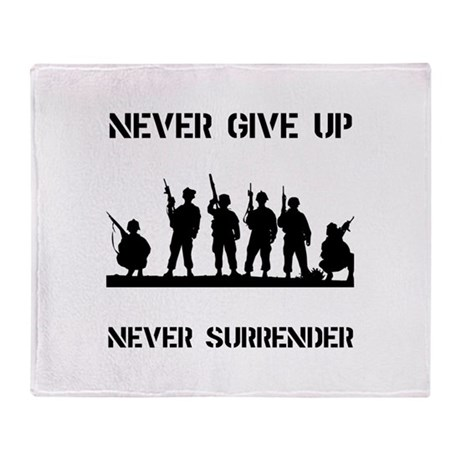 Never Give Up Military Throw Blanket