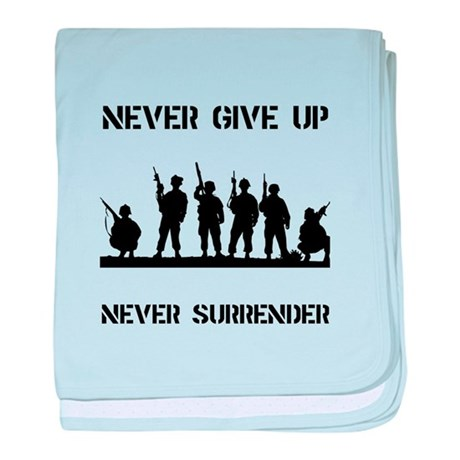 Never Give Up Military baby blanket