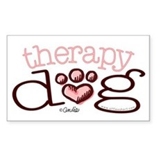 Therapy Dog Pink Paw Print Heart Decal