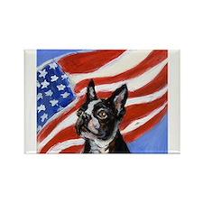 Boston Terrier American Flag Rectangle Magnet