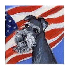 SCHNAUZER American flag Tile Coaster