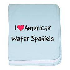 I heart American Water Spaniels baby blanket