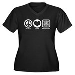 Peace Love Radiology Women's Plus Size V-Neck Dark