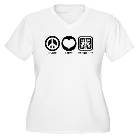 Peace Love Radiology Women's Plus Size V-Neck T-Sh