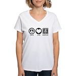 Peace Love Radiology Women's V-Neck T-Shirt