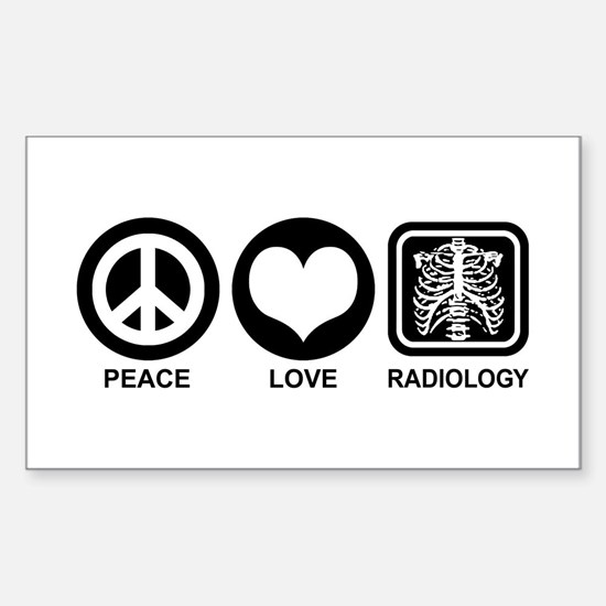 Peace Love Radiology Sticker (Rectangle)