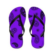 Purple and Black Paisley Flip Flops