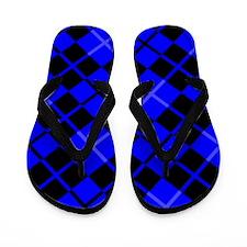 Blue and Black Argyle Flip Flops