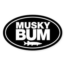 Musky Bum Oval Sticker Decal